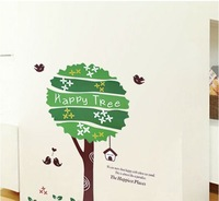 Free shipping wall sticker,home decoration,living room sticker,60*90CM Happy tree stickers,XY1011