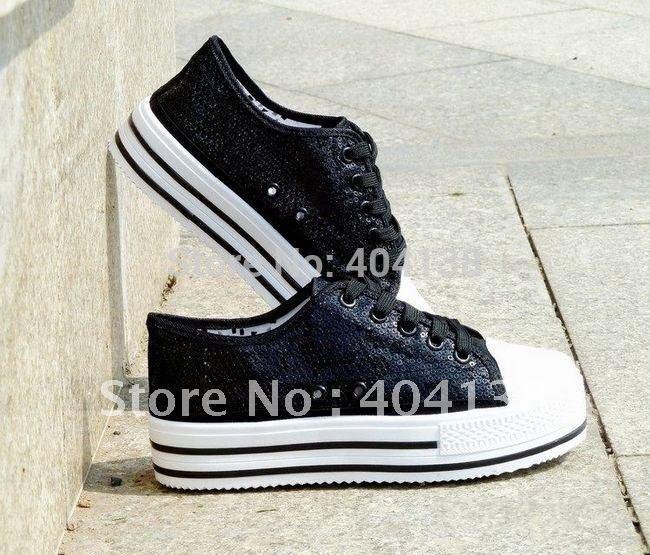 новые случайные спортивные женщины обувь моды Высота платформы увеличения блестками холст кроссовки черный белый узкий размер 35-39