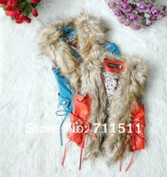 wholesale--4pcs/lot, 2012 Fall New, high-grade girls fur vest,  Faux Fur children's vest  kids winter coat
