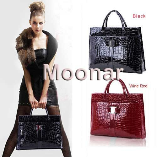 Hot Sale Women Handbag Luxury OL Lady Crocodile Pattern Hobo Tote Shoulder Bag Black & Red WB271(China (Mainland))