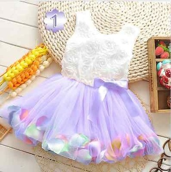 Pretty Kids Girls Sweet light pink ribbon bow Lace ruffles Princess Dress