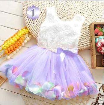 Pretty Kids Girls Sweet light pink ribbon bow Lace ruffles Princess Dress