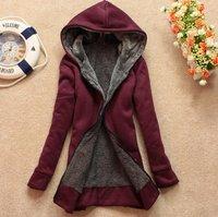 2014 Women Winter Hoodies Women's Casual Cotton-padded Warm Coat Wool Winter Jacket Hooded Free Shipping 2014 Velvet Long-sleeve