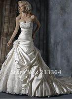 Hot Sale Free shipping Taffeta lace strapless bridal wedding dresses 2012 custom size/color wholesale/retail