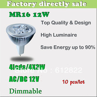 Factory directly sale 10pcs/lot CREE Bulb led bulb MR16 12w 4x3W AC/DC 12V Dimmable led Light led lamp spotlight free shipping