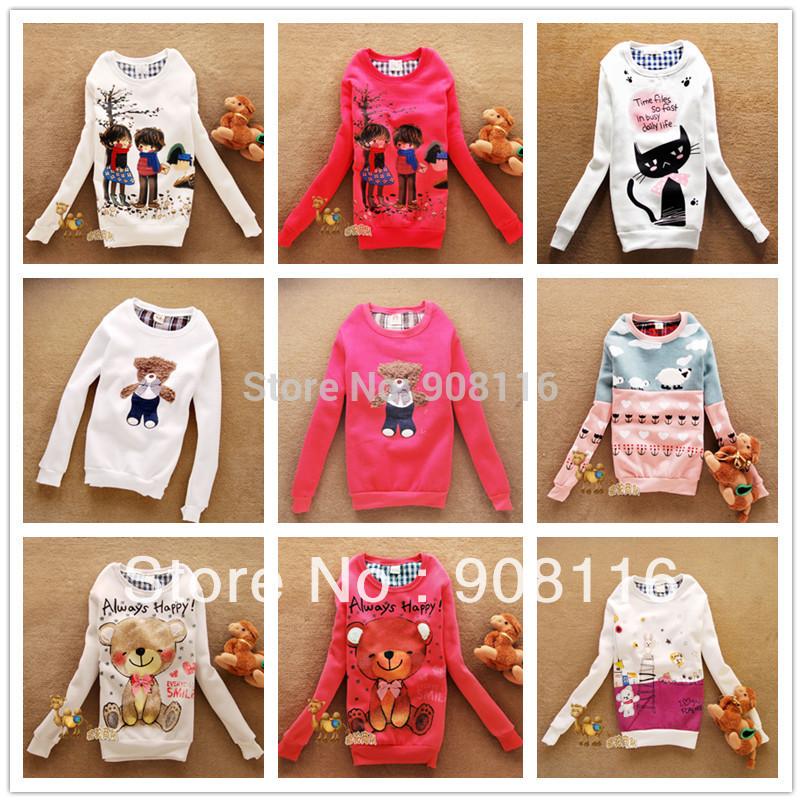 2014 new Women casual long cute bear Sweatershirts Hoodies/pullover,women's Jacket ladies casual SWEET hoodie,4color,ladies tops(China (Mainland))