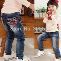 New children's pants baby  girl's love letter design jeans,1pcs