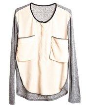 2012 Patchwork Jersey Chiffon Blouse Long Sleeves Pockets O-neck Loose Casual T-shirts Women Tees Ladies' Fashion Brand Tops(China (Mainland))