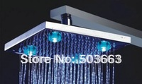 Square Beautiful 8'' LED Faucet Bathroom Chrome 3 Colors Shower Head CM0059