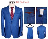 2014 Men's Single-breasted Bussiness Suit Brand Wedding Suit Sky Blue (coat+pants) size S-3XL