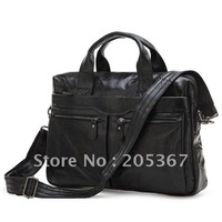 Free Shipping 100% Genuine Leather Men's Black Coffee Handbag Messenger Bag Laptop Briefcase  #7122A / 7122C