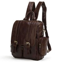 J.M.D100% excellent Vintage Leather High School Backpacks Sports Backpack  #7123C