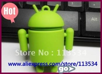 Wholesale genuine capacity 2GB/ 4GB/8GB full capacity Android Robot Android Robot USB Flash Drive 2GB 4GB 8GB, 10pcs/lot