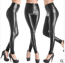 2014 New Women Faux Leather Legging Fashion High-waist Stretch Material Pencil Pants Black Footless Leggings S/M/L/XL LG-108(China (Mainland))