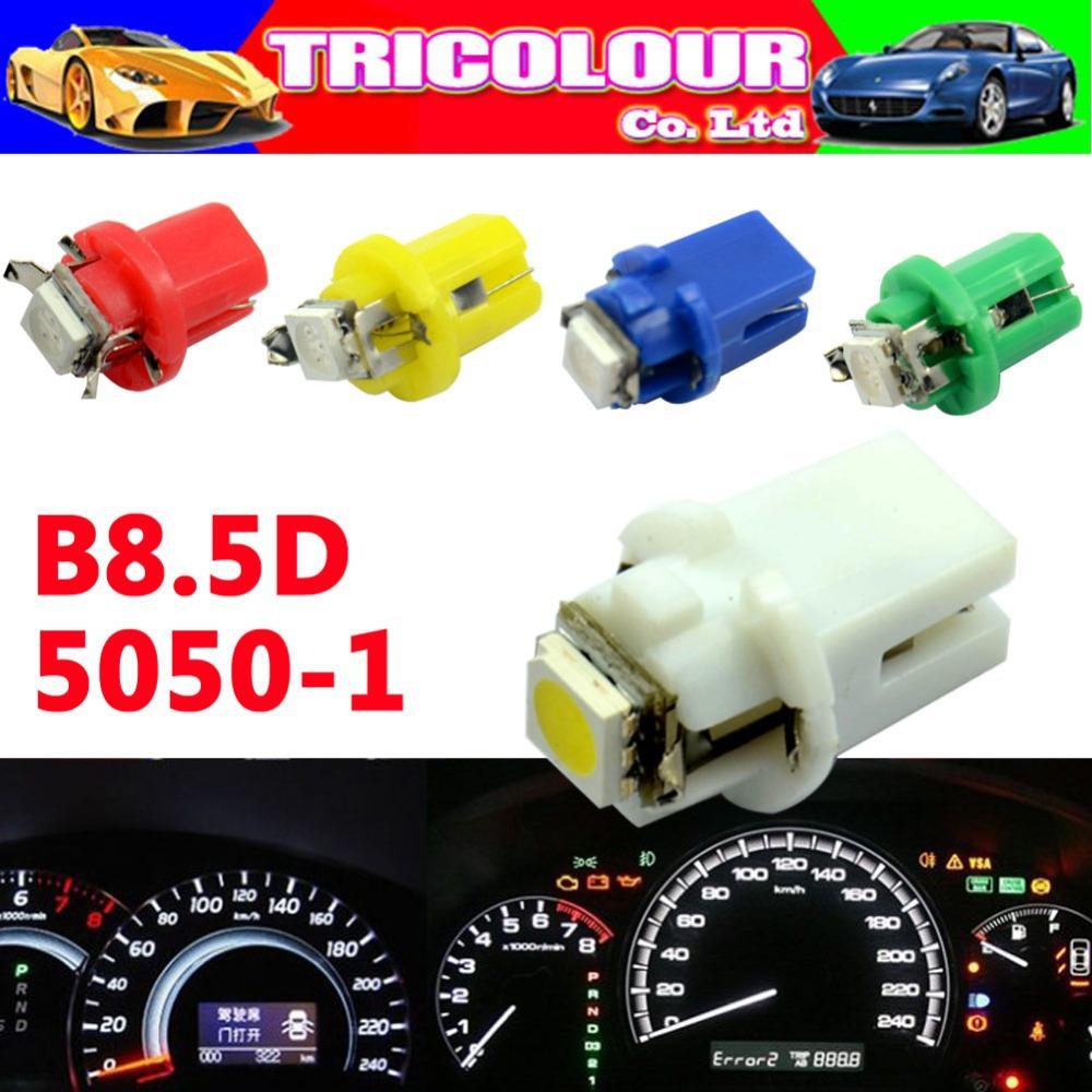 10X B8.5d b8.5 5050 Led 1 SMD T5 LED Lamp Car Gauge Speedo Dashboard instrument Light Bulb 12v blue red green white yellow(China (Mainland))