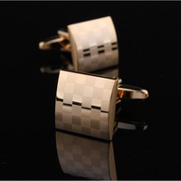 XMAS GIFT FREE SHIPPNG CUFFLINKS GOLD SQUARE CHECK PATTERN WEDDING GROOM FATHER DAD LASER USHER SHARP