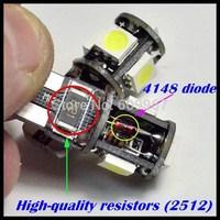 Wholesale 10pcs/Lot Canbus T10 5smd 5050 LED car Light Canbus W5W 194 5050 SMD Error Free White Light Bulbs