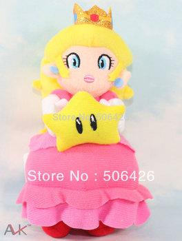"free shipping 1pcs/lot Super Mario bros 8"" Princess Peach Embrace star mario plush toy doll"