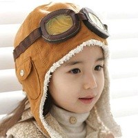 Wholesale retail children hats boys flight caps kids winter hats earflap Cap Beanie Pilot C126 NEW 100% wool +Free shipping