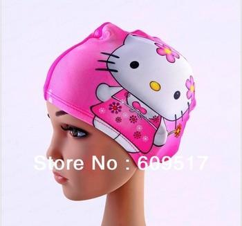 2012 free shipping Hotsale fashion kids hello kitty swimming cap, boy and girls swimming hat