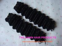"2Pieces/lot Mixed (50% Human Hair&50% Heat Resistant Fiber) Deep Curl Hair Weave Weft Color 1# Length 8-18"""