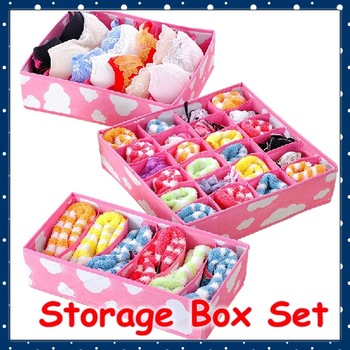 [FORREST SHOP] High Quality Non-Woven Fabric Home Pink Underwear Organizer Set Bra Necktie Socks Storage Box FRH-7