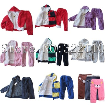 Children Sportwear with Fur/Plush Striped Kids Winter Wear More Designs/Colors Hoodies+Pant 2pcs Set Suit Warm Clothes