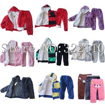 Children Sportwear with Fur/Plush Striped Kids Winter Wear More Designs/Colors Hoodies+Pant 2pcs Set Suit Warm Clothes