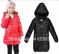 2015 new children girls thick long down coat jacket snow winter overcoat with hat Windproof infant outwear baby clothing wear