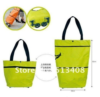Drop Shipping 2012 New Arrival Multi-Function Canvas Tote Foldable Travel and Shopping Bag with Wheel