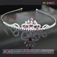Free Shipping Children Rhinestone Heart Headband Crown Tiara Baby Princess Crown Customized