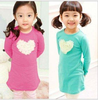 2014 Autumn new girls dress casual cotton Flower heart-shaped baby girls dress wholesale children's clothing B077 free shipping