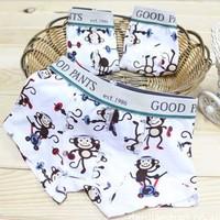 Free Shipping,12pcs/lot,KD-003-027,Wholesale Cartoon Monkey pure cotton children underwear/boy boxers/boys assiebum/kid brief
