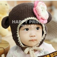 Free shipping Lovely Baby,children Monkey shape Wool  hat,,children cap