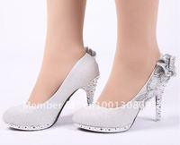 Silver flowers bridal shoes women 's dress shoes fashion women's high heels Free Shipping
