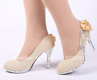 New high-heeled rhinestone shoes golden flowers bridal shoes women's dress shoes Free Shipping