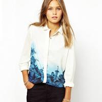 New Fashion Women's Elegant Long Sleeve Lapel Shirts Blue Flower Floral Print Chiffon Slim Casual Loose White Blouses Brand S-XL