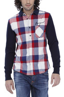 new spain desigual 27C1202 knitted patchwork casual plaid mens cotton shirts M L XL free shipping