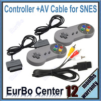 2pcs a lot Classic Colorful Button Style Game Controller With AV Cable for Super Nintendo for SNES (EW027)