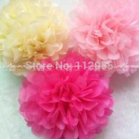 "Free  Shipping 10 pcs 14""(35cm) Tissue Paper Pom Poms Party Wedding Shower Flower Balls Decoration 20 Colors"