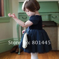 2012 Summer baby girl dress blue point cake dress ball gown 100% cotton short-sleeve dress for 70~100cm Free Shipping