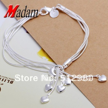 wholesale,silver heart pendant bracelets,snake chain,fashion jewelry, Nickle free,elegant bracelets ,2013,factory price,GSSPH017