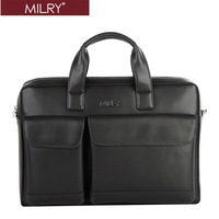 Free shipping MILRY 100% Genuine Leather  men Briefcase Business fashion shoulder messenger bag for 14 inch laptop cp0014-1