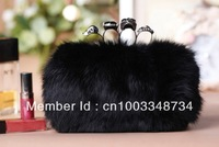 Free shipping 2013 New arrival Real rabbit fur luxury handbags skull Fur bags women fashion clutch bags