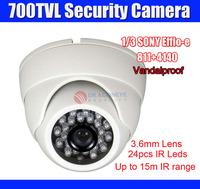 Sony CCD + Effio-e 700TVL  CCTV Camera Vandalproof Dome IR  Camera 3.6mm Lens 15m IR Distance, Security Camera