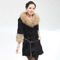 2012 New Real rabbit fur Coat with raccoondog fur collar and cuff jacket overcoat Popular 9colors High Reccomend Shipping free