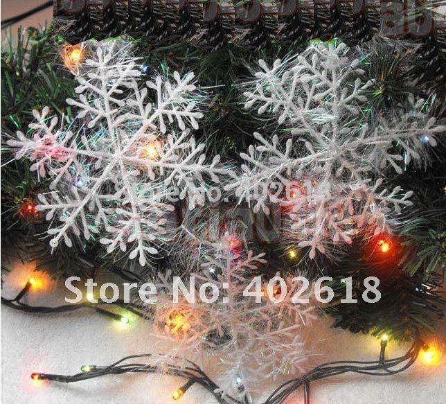 ( 50pcs/sacco), fiocco di neve, natale forniture, dimensioni 10x10cm, decorazione di natale, colore bianco, natale appeso decorazione, 3pcs/bag