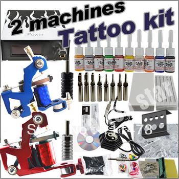 new hot Tattoo kit 2 machines gun 10 color inks set power supply needles grip tubes 12-11