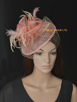 Pink/wood cream sinamay fascinator dress formal hat for wedding,races,kentucky derby,party,Ascot.Free Shipping.