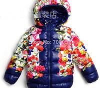 Free shipping 5pcs/lot  2014 winter new fashion brand baby Boys down jacket  big flower fur warm children outwear coat in stock